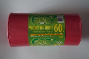 Worki na śmieci LDPE 60L a'50 czerwone