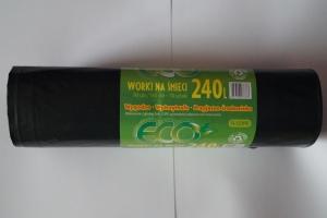 Worki na śmieci LDPE 240L a'10 czarne grube