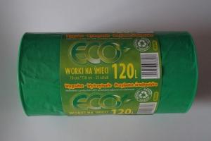 Worki na śmieci LDPE 120L a'25 zielone