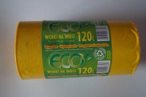Worki na śmieci LDPE 120L a'25 żółte