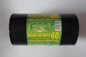 Worki na śmieci LDPE 60L a'50 czarne