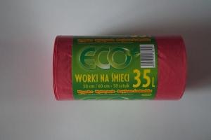 Worki na śmieci LDPE 35L a'50 czerwone